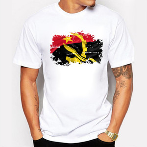 Nova Chegada Angola Nação Bandeira Estilo Nostálgico T-Shirt Dos Homens de Verão 100% Algodão T Camisas Casuais Estilo Hip Hop Tops Tees