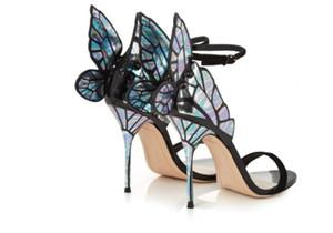 Nuevas llegadas Alas coloridas Sandalias de tacón delgado Mujeres Bombas de punta abierta Sandalias de tacones de mariposa Zapatos atractivos de la pasarela de la boda