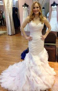 2019 Ruffles train sirène Ruffles Tulle coloré robes de mariée fourreau fée Corset robes de mariée robes de mariée rougissent robe de mariée