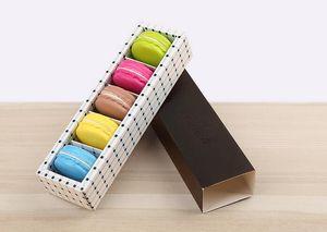 250 satz / los Macaron Box Hält 5 Hohlraum 19 * 5,3 * 3,5 cm Papier Party Boxen Für Bäckerei Cupcake Snack Süßigkeiten Keks Muffin Box