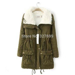 Wholesale- 2015 Winter New Berber Fleece Jacke Mantel Damenbekleidung Napka Feminine Jaquetas Slim lange Jacken Parkas unten COAT-2808873