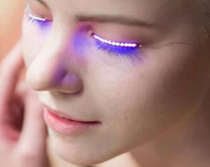 대화 형 할로윈 LED 스트립 거짓 속눈썹 스티커 3D LED 속눈썹 아이 메이크업 방수 라이트 위조 속눈썹 크리스마스 나이트 클럽 파티