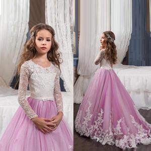 2017 principessa maniche lunghe pizzo fiore ragazza abiti vestiti vestiti gonfiati rosa bambini da sera ballo abito da ballo partito con pageant abiti ragazze