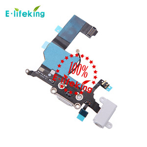 Para iphone 5 5s 5c conector de encaixe usb porto de carregamento e headphone áudio jack flex cable ribbon preto ou branco