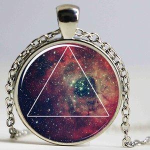 Galaxy Triangle Necklace, Hipster Nebula Jewelry, 기하학 별 펜던트