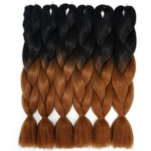 "Fashion Black To Blue Red Purple Two Tone Kanekalon Xpression Jumbo Braid Hair 24"" Silky Straight Synthetic Ombre Braiding Hair Xpression"
