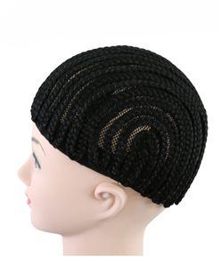 Легче шить черный косички косички крючком парик шапки для изготовления париков полный кружева парики Cap эластичный ткачество чистой сетки шапки для париков