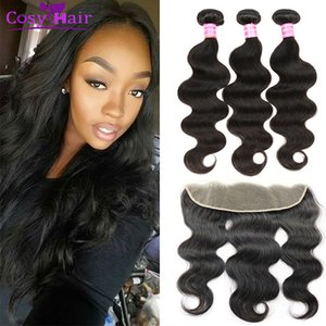 malaysian virgin hair body wave with 13x4 lace frontal ear to ear human hair wefts weave extensions with closure