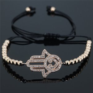 Großhandel - anil arjandas armband, mosaik cz kristall seitway hamsa böse augen runde ball messing perlen flechten macrame armband für frauen
