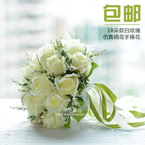 꽃을 들고 신부 실크 손에 인공 빈티지 웨딩 부케 수제 웨딩 신부 부케 액세서리 화이트 로즈