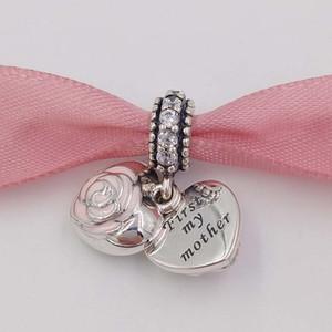 Tag der Mutter 925 Silber Perlen der Mutter Rose-Anhänger-Charme-passende europäische Marke ALE-Art-Mom Armband-Halskette Muttertag Schmuck