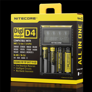 100 % 기존 Nitecore D4 Intelligent Digi 스마트 충전기, 14500,16340 (RCR123), 18650,22650,26650, AA, AAA 배터리 용 LCD 디스플레이