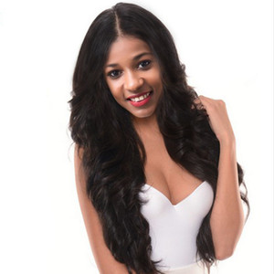 Beautiful long loose Wave Wig Simulation Human Hair Wig Wave full wigs black color in stock free shipping