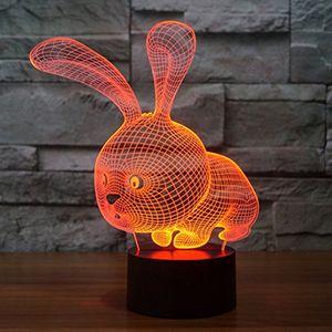 3D Lovely Rabbit Night Light 3D LED USB 7 Cambia colore LED Table Xmas Toy Regalo per i bambini