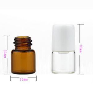 3600Pcs / Lote 1 ml de vidro pequeno claro Âmbar rolo Garrafa de vidro Roll-On garrafas fragrância do perfume recarregáveis Perfume portátil Roll On Bottle