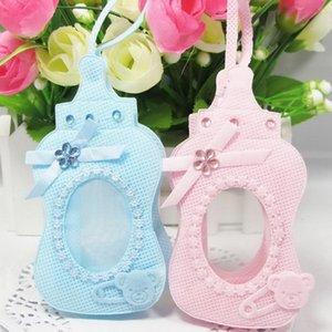 Yeni varış 24 adet dokunmamış kumaşlar mavi / pembe şişe tarzı hediye çanta şeker kutusu konuk için sling konuk bebek duş doğum günü partisi dekor