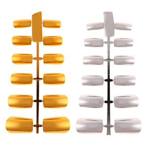 12 pcs Plated Platic Full Nail Conseils Court Design Faux Ongles Couverture Complète Faux Ongles Conseils Art Artificielle Or Argent
