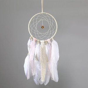 Lace Dreamcatcher Circular With Feathers Hanging Wall Wedding Party Decoration Ornament Craft Gift Handmade White Dream catcher Wind Chimes