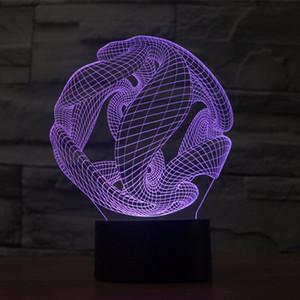 Soyut Uzay 3D Optik Illusion Renkli Aydınlatma Etkisi USB Powered LED Dekorasyon Gece Lambası Masa Lambası