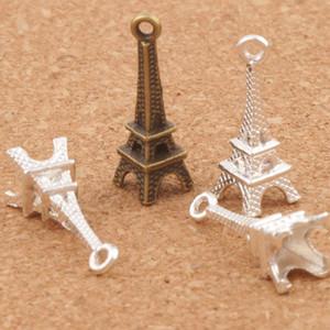 3D Paris Eyfel Kulesi Alaşım Küçük Charms Kolye 100 adet / grup MIC Bronz Gümüş Kaplama Şık 22mm * 4mm L448