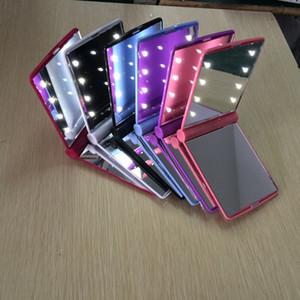 Высокое качество 8 шт. светодиодные зеркало для макияжа складной портативный компактный карман 6 цветов Леди светодиодные зеркала лампы DHL Бесплатная доставка