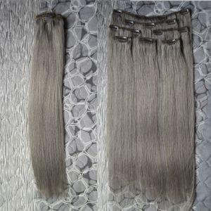 Extensiones de cabello humano gris clip grueso virgen en extensiones de cabello recto 100g 7pcs