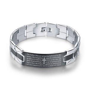 Wholesale European and American jewelry, English biblical prayer bracelet, cross stainless steel bracelet, men's plating between black brace