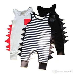 Sleeveless Baby Strampler Baumwolle Neugeborenen Jungen Mädchen Kleidung Dinosaurier Geformt Sommer Kleidung Kleinkind Baby Fashion Striped Overall