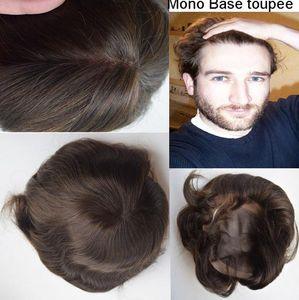 Mono lace with PU around Men Toupee Black Hair Vrgin Brazilian Human Hair Silky Straight Dark Brown Hair Men Toupee Free Shipping