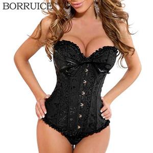 BORRUICE Luxuriöse Frauen Taille Korsetts und Bustiers Sexy Spitze Mieder Lingerie Plus Size Taille Korsett 8 Farbe