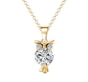 2017 جديد أزياء المرأة حجر الراين قلادة المعلقات البومة الكريستال قلادة الهيب هوب المجوهرات
