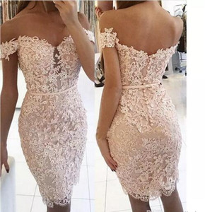 2017 Sexy Mermaid Short Cocktail Dresses Lace Applique Off-the-Shoulder Sequins Knee Length Backless Party Homecoming Dresses