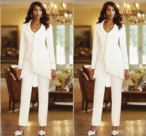 İki Adet Beyaz Fildişi 2019 Kılıf Zarif Anneler Pantolon Takım Elbise Custom Made Ruffles Şifon anne Gelin Törenlerinde Uzun Kollu parti Kıyafeti