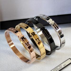 Nuovo modo coreano braccialetto paio coppia d'acciaio di titanio oro rosa Bracciale amore giuramento Bracciale trasporto libero all'ingrosso