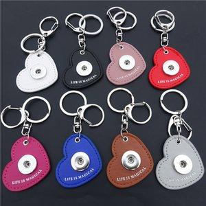 12pcs / lot 믹스 색상 Pu 가죽 심장 Keychains Noosa 청크 금속 생강 18mm 스냅인 단추 열쇠 고리는 마법의 보석이다
