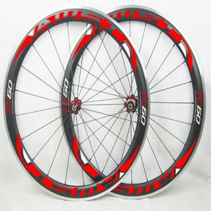 원래 AWST TC60 60mm 합금 표면 제동 카본 자전거 바퀴 V 브레이크 자전거 카본 휠 23mm 700C 클린 처 휠 레드 데칼 재고 있음