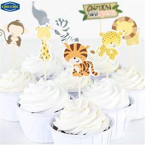 Al por mayor [CHICCHIC] dibujos animados Wild Animal Park 24pcs Set Primeros de la magdalena de frutas Selecciones Banderas Decoración torta de la hornada con palillos de dientes QH0030