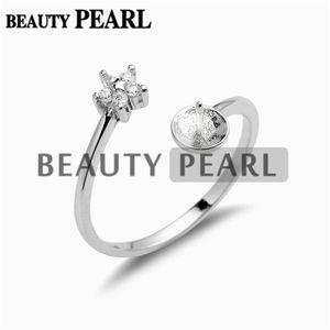 Anillo de perlas Montaje 925 Joyería de bricolaje de plata esterlina con circonitas para hacer pequeños anillos en forma de estrella 5 piezas