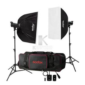 Taşıma Çantası 110V / 220V Godox DE300 600W / 2x 300W 300WS Studio Flash Işık Strobe Aydınlatma Kiti + 70x100cm softbox + Işık Standı +
