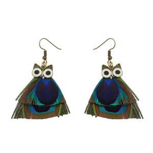 Idealway New Fashion Peacock Feather Drop lega di bronzo placcato gufo Orecchini partito nappa