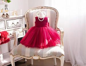 Elegantes vestidos de niña de verano 2017 vestido de fiesta de cumpleaños de la boda de la gasa de las muchachas rojo de Bautismo Vestidos con el arco grande 6M-12Y