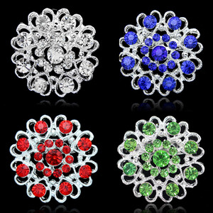 Rhinestone Crystal Heart Flower brooches Pins Bouquet Brooch Collar pin corsage women men Wedding jewelry Christmas Gift Drop Ship