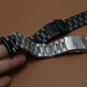 새로운 스테인레스 스틸 시계 밴드 스트랩 팔찌 실버 및 블랙 안전 버클 18,20 22 24mm