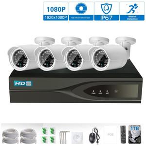HD 1800P POE 4PCS 2.0MP red IP Cámara de seguridad para el hogar Sistema CCTV 4CH HDMI NVR Alerta por correo electrónico Kits de vigilancia P2P