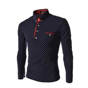 Wholesale- New 2016 Fashion Gentleman Style Polka Dot Men Shirt Casual Long Sleeve Cotton Shirt M-XXXL