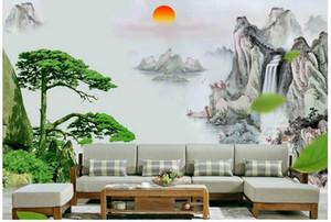 Papel pintado de la foto 3D tamaño personalizado mural no tejido de la pared de la pintura china sunrise riverside decoración mural 3D Mural wallpaper envío gratis