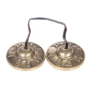 Alta qualità 2.6in / 6.5cm Handcrafted Tibetan Meditation Tingsha Bell con simboli buddisti fortunati