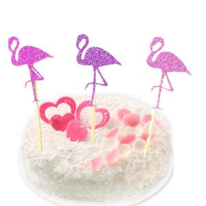 12 unids / lote envío libre partido de la magdalena Toppers Flamingo Pasteles Topper Picks boda / fiesta de cumpleaños decoración Baby Shower suministros
