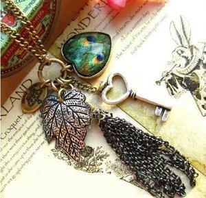 Necklaces vintage statement necklace women accessories party necklaces Retro Fashion Heart Leaf Leaves Key Peacock Pendant Long Chains