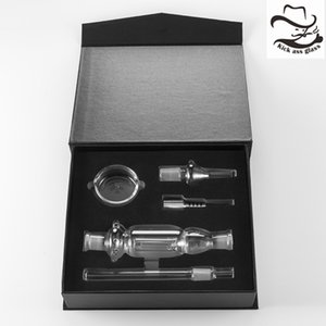 Nectar Collectars Kit 6 Parts Black Gift Box Mouthpiece 14mm Or 18mm Stainless Steel Tip Glass Tip Glass Bowl Honey Straw 523